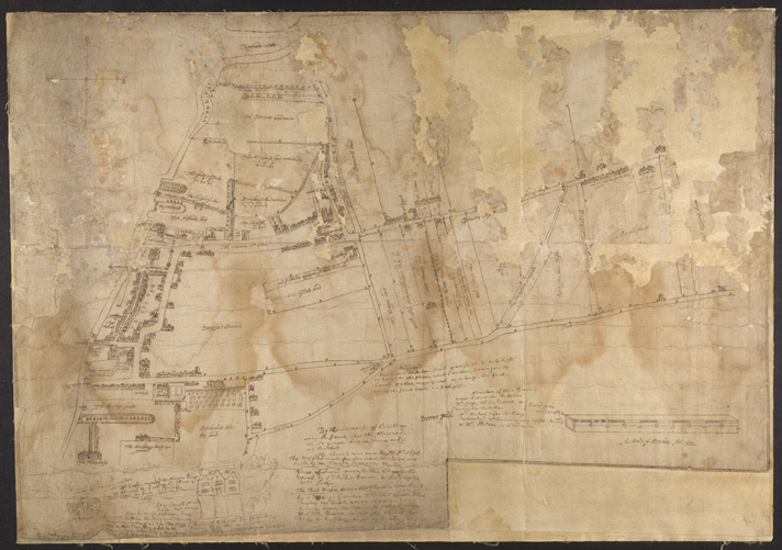 Map of Deptford, with annotations on population growth by John Evelyn